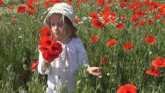Happy Girl, Child Playing in Poppy Flower Field, Meadow, Children Slow Motion - stock footage