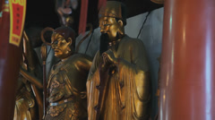 Buddhist deity statues in Jade Buddha Temple Stock Footage