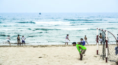 People do sports at the beach in Da Nang, Vietnam Stock Footage