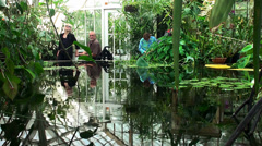 Visitors in the Conservatory of Flowers Stock Footage
