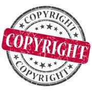 Copyright red round grungy stamp isolated on white background Stock Illustration