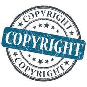 Copyright blue round grungy stamp isolated on white background Stock Illustration