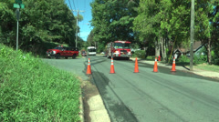 Fire chief fire truck and barrier cones at scene Stock Footage