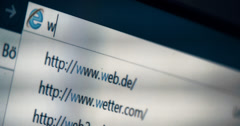 4K, Typing WORLDWIDEWEB into a browser, WWW, URL Stock Footage