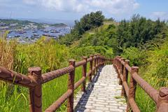 Hiking trail in Cheung Chau at peak - stock photo