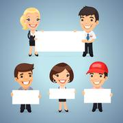 Stock Illustration of Managers With Blank Placards