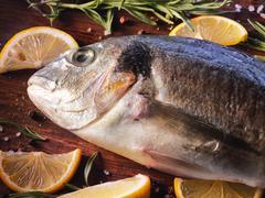 Raw dorado fish with rosemary and sea salt Stock Photos