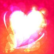 Hearts, speech bubble, ornamental background - stock illustration
