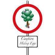 caution Hiding Eggs - stock illustration