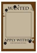 Wanted, Apply Within Poster Stock Illustration