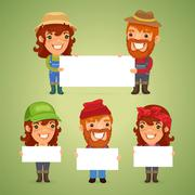 Farmers With Blank Placards - stock illustration