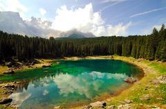 Alpine lake (Italy) - stock photo