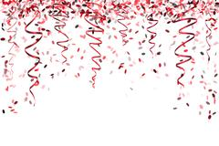 falling red confetti - stock illustration