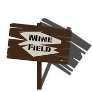 Mine Field Sign Stock Illustration
