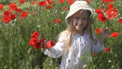 Happy Girl, Child Playing, Dancing in Poppy Flower Field, Children Slow Motion Stock Footage