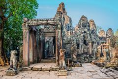 Prasat bayon temple angkor thom cambodia Stock Photos