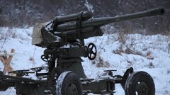 Soldiers  near the antiaircraft gun Stock Footage