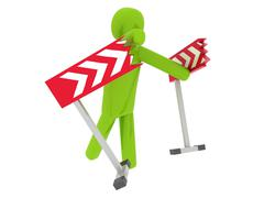 Green man breaking the barriers - Social Themes - stock photo