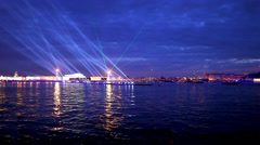 night laser show in St. Petersburg - stock footage
