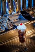 hot fudge sundae - stock photo
