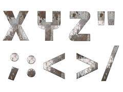 English alphabet, numbers and signs isolated, grungy Stock Illustration