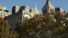 MS TU Manhattan buildings with Center Park trees in foreground, New York City, Stock Footage