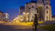Stock Video Footage of Alba Iulia Fortress statue of guard time lapse HD