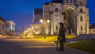 Stock Video Footage of Alba Iulia Fortress statue of guard time lapse 4K