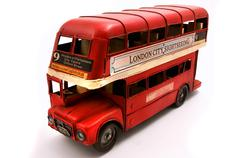 Red double decker toy Stock Photos