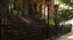 MS TU Building exterior with trees in foreground, Gramercy Park, New York City, Stock Footage