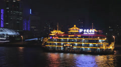 Tour Ship at a Background of Shanghai Skyline Stock Footage