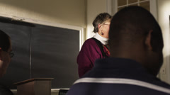 CU PAN Female teacher and students in classroom, Buena Vista, Virginia, USA Stock Footage