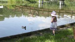 Little girl feeding a duck Stock Footage