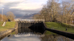CALEDONIAN CANAL DAM, CORPACH, FORT WILLIAM, SCOTLAND #1 Stock Footage
