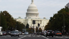 WS Traffic on Pennsylvania Avenue with Capitol in background, Washington D.C, - stock footage