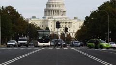 WS TU Traffic on Pennsylvania Avenue with Capitol in background, Washington D.C, - stock footage