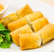 Fried spring rolls Stock Photos