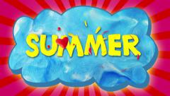 Summer text on cloud, stop motion. Stock Footage