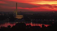 WS HA View of the Mall illuminated at sunrise, Washington D.C, USA Stock Footage