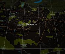 Mongolia on the map Stock Illustration