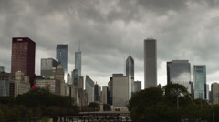 T/L WS Chicago skyline ageist cloudy sky, Illinois, USA Stock Footage