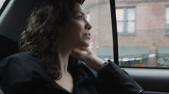CU Young woman sitting on backseat of car, smiling, Manhattan, New York City, Stock Footage