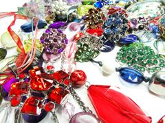 Crystals beads jewellery as fashion background Stock Photos