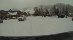 Snow Road Aspen Residential Area Stock Footage