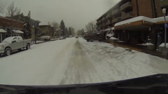 Stock Video Footage of Snow Town Aspen Colorado Streets