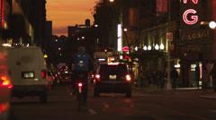 WS TU Street scene at dusk, New York City, USA Stock Footage