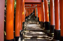 Torii gates at Inari shrine in Kyoto Stock Photos