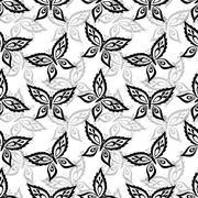 Seamless background, butterflies contours Stock Illustration