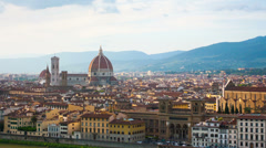 Florence, river embankment of Arno and Cathedral of Santa Maria del Fiore Stock Footage
