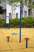Leisure tools for keep fit in park Stock Photos